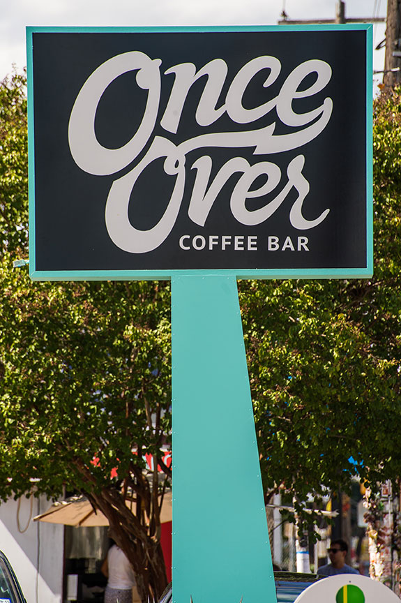 Once Over Coffee Bar sign