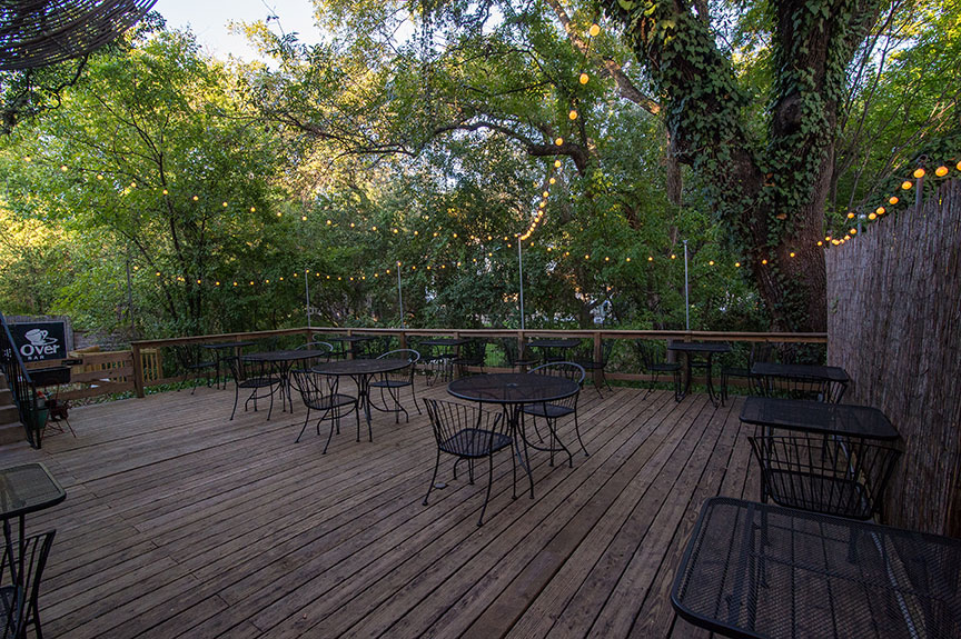 Once Over patio overlooking Shoal Creek